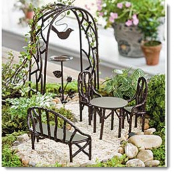 Remarkable Iron Fairy Garden Furniture Wildewood Gift Set Ibusinesslaw Wood Chair Design Ideas Ibusinesslaworg