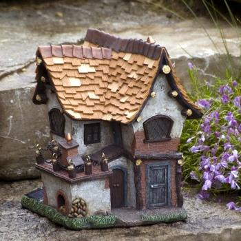 Fairy Garden Crooked Tudor Cottage W Solar Lights